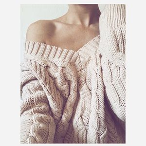 Express Distressed Pink Cable Knit Sweater Size S